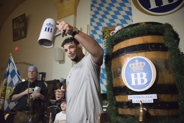 UFC Heavyweight Champion Frank Mir raises his beer stein after the keg tapping at Hofbrauhaus Las Vegas in Las Vegas Friday, Sept. 25, 2015. Jason Ogulnik/Las Vegas Review-Journal