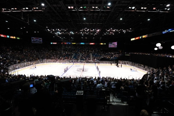 MGM Grand Garden Arena is seen in the second period period of an NHL preseason hockey game between the Colorado Avalanche and the Los Angeles Kings in Las Vegas Saturday, Oct. 3, 2015. Los Angeles ...