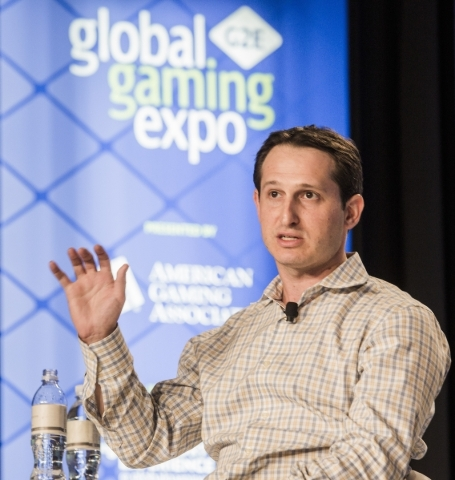 Jason Robins, CEO of DraftKings, speaks during  the Business Threat or Opportunity: Sports Betting, Daily Fantasy and the Ongoing Debate panel discussion during the Global Gaming Expo at the  Sand ...