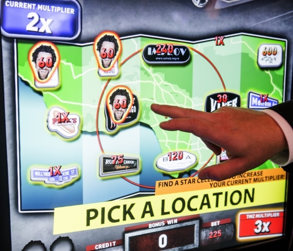 The front of the new TMZ slot in the International Game Technology booth at the Global Gaming Expo in the Sands Expo and Convention Center is seen Wednesday, Sept. 30, 2015. (Jeff Scheid/ Las Vega ...
