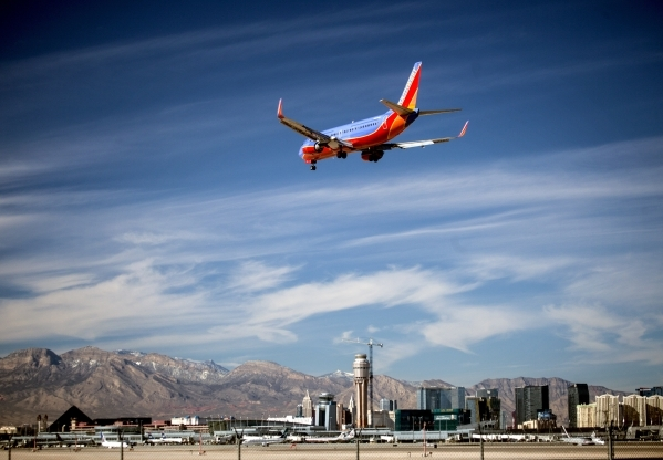 A Southwest Airlines flight prepares for landing at McCarran International Airport on Tuesday, Nov. 26, 2013. Jeff Scheid/Las Vegas Review-Journal Follow @jlscheid