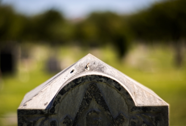 A tombstone is seen at Woodlawn Cemetery 1500 Las Vegas Boulevard North, on Friday, Oct. 2, 2015. Jeff Scheid/ Las Vegas Review-Journal Follow @jlscheid