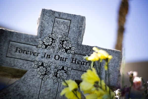 A tombstone is seen at Bunkers Eden Vale Cemetery at 925 Las Vegas Boulevard North on Friday, Oct. 2, 2015. Jeff Scheid/ Las Vegas Review-Journal Follow @jlscheid