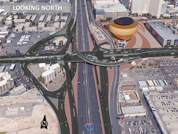 A rendering of changes planned for the interchange at Tropicana Avenue and Interstate 15 is shown, looking north along I-15. Courtesy, Nevada Department of Transportation