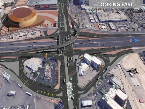 A rendering of changes planned for the interchange at Tropicana Avenue and Interstate 15 is shown, looking east along Tropicana. Courtesy, Nevada Department of Transportation