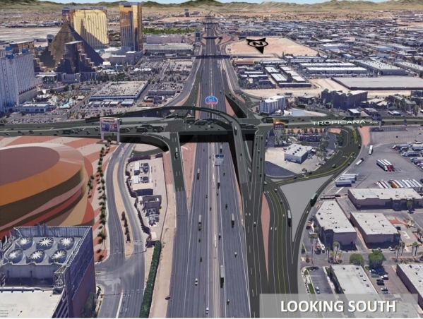 A rendering of changes planned for the interchange at Tropicana Avenue and Interstate 15 is shown, looking south along I-15. Courtesy, Nevada Department of Transportation