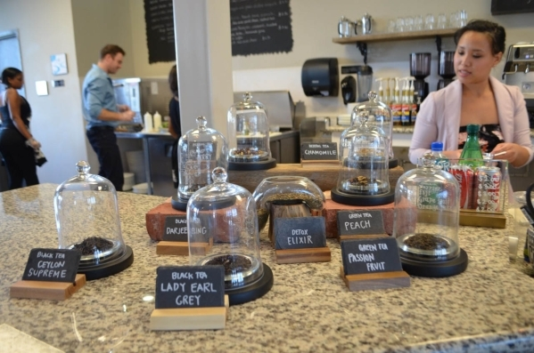 Tea is displayed in decorative jars at Rosallie Le French Cafe, 6090 S. Rainbow Blvd. (Ginger Meurer/Special to View)