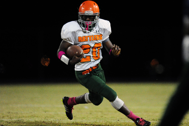Mojave running back running back Blake Fitzgerald rushes the ball against Spring Valley in the third quarter of their prep football game at Spring Valley High School in Las Vegas Friday, Oct. 2, 2 ...