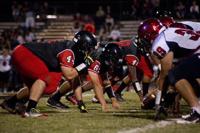 Las Vegas High School's defense lines up in front of Coronado High School's Offense late in the fourth quarter of their prep football game at Las Vegas High School on Friday, Oct. 2, 2 ...