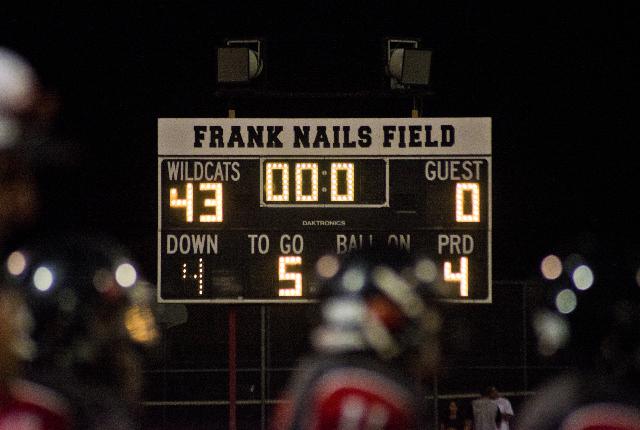 The score is seen after Las Vegas High School beat Coronado High School 43 to zero after prep football game at Las Vegas High School on Friday, Oct. 2, 2015. Daniel Clark/Las Vegas Review-Journal