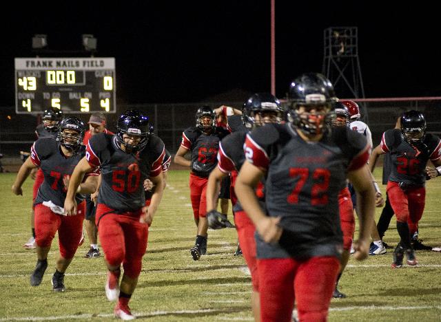 The Las Vegas High School football team celebrates their win after their prep football game at Las Vegas High School on Friday, Oct. 2, 2015. Daniel Clark/Las Vegas Review-Journal