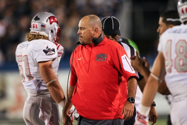 UNLV football coach Tony Sanchez looks on as the team plays UNR at Mackay Stadium in Reno, Nev. on Saturday, Oct. 3, 2015. Chase Stevens/Las Vegas Review-Journal Follow @csstevensphoto