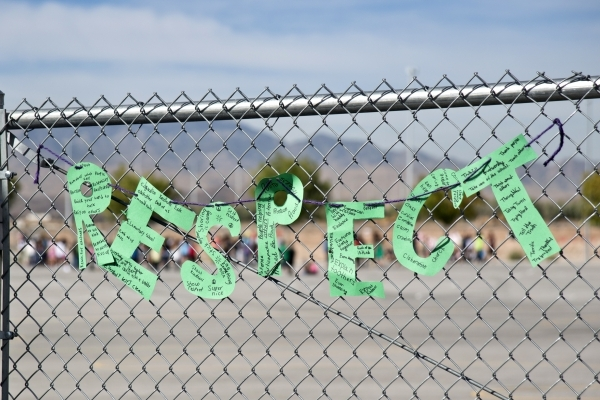 'Respect' is spelled out on the fence at Aldeane Comito Ries Elementary School during the Week of Respect at the school Wednesday, Sept. 30, 2015. Daniel Clark/Las Vegas Review-Journal