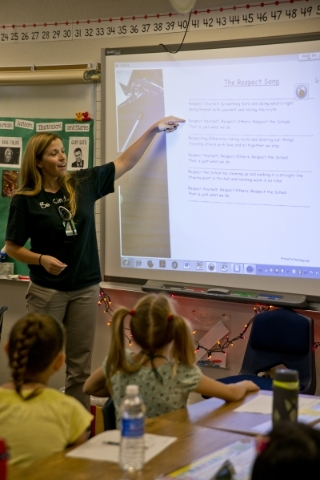 Laura Gallagher leads her second grade class in activities intended to promote and teach respect during the Week of Respect at Aldeane Comito Ries Elementary School on Wednesday, Sept. 30, 2015. D ...
