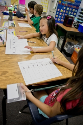 Students participate in activities intended to promote and teach respect during the Week of Respect at Aldeane Comito Ries Elementary School on Wednesday, Sept. 30, 2015. Daniel Clark/Las Vegas Re ...
