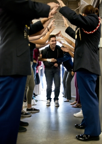 Luis Ochoa is welcomed by other students during a Week of Respect event at Valley High School on Thursday, Oct. 1, 2015. Daniel Clark/Las Vegas Review-Journal
