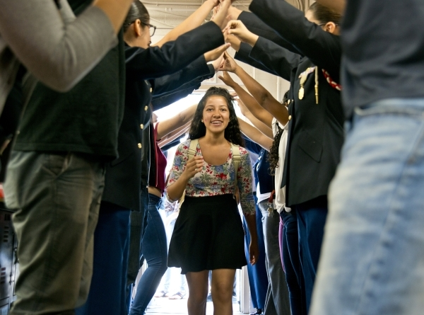 Ashley Lopez is welcomed by other students during a Week of Respect event at Valley High School on Thursday, Oct. 1, 2015. Daniel Clark/Las Vegas Review-Journal