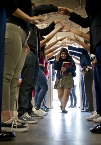 Chelsea Gomez is welcomed by other students during a Week of Respect event at Valley High School on Thursday, Oct. 1, 2015. Daniel Clark/Las Vegas Review-Journal