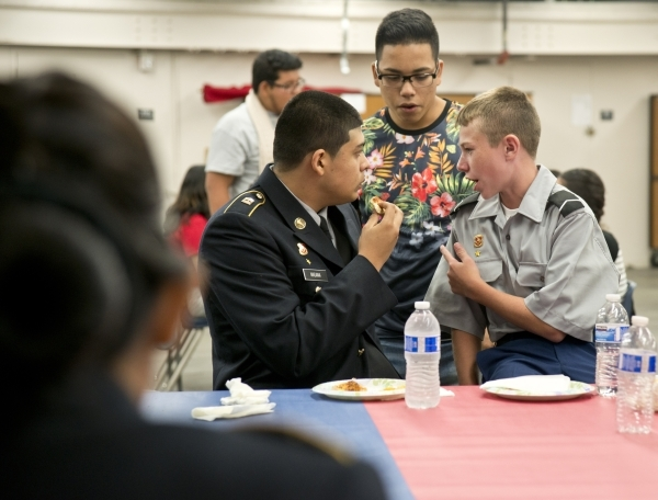 From right, Noah Cosgrove speaks with Alan Ferrera and Juan Magana during a Week of Respect event at Valley High School on Thursday, Oct. 1, 2015. Daniel Clark/Las Vegas Review-Journal