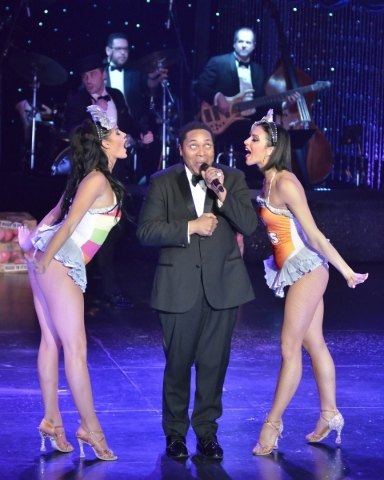 Darren Lorenzo, center, performs with Emily Calloway, left, and Michelle DiTerlizzi in ìVegas! the Showî at the Saxe Theater in the Miracle Mile Shops at the Planet Hollywood hotel-casino at ...
