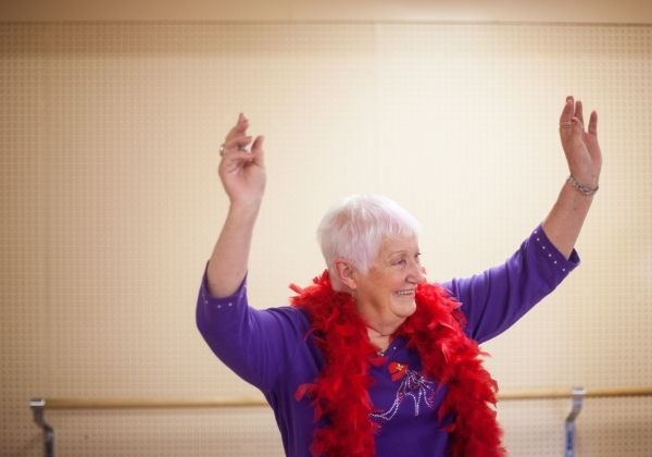 Judy England, 73, participates in a burlesque dance class at Derfelt Senior Center in Lorenzi Park in Las Vegas on Thursday, Oct. 1, 2015. It was the first time the class was being held. Chase Ste ...