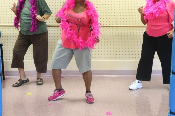 Eighty-year-old Patty Jacobs, from left, Sally Phillips, 74, and Dee Gordon, 81, participate in a burlesque dance class at Derfelt Senior Center in Lorenzi Park in Las Vegas on Thursday, Oct. 1, 2 ...