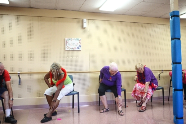 Seventy-nine-year-old Betty Cleveland, from left, Judy England, 73, and Paulisca Buckholz, 84, participate in a burlesque dance class at Derfelt Senior Center in Lorenzi Park in Las Vegas on Thurs ...