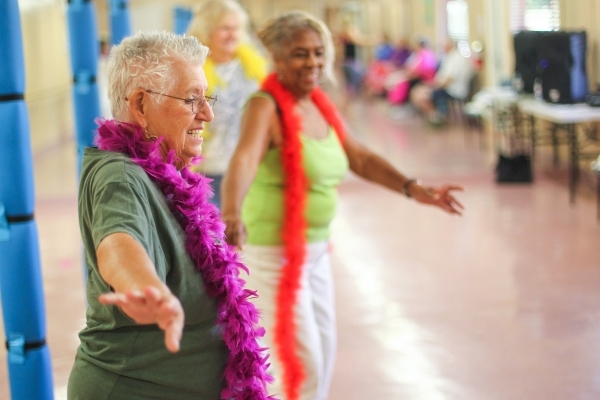 Patty Jacobs, 80, participates in a burlesque dance class at Derfelt Senior Center in Lorenzi Park in Las Vegas on Thursday, Oct. 1, 2015. It was the first time the class was being held. Chase Ste ...