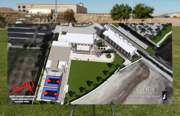 A rendering for Sports Leadership and Management (SLAM!) charter middle and high school is shown during a ground breaking ceremony Friday, Oct. 2, 2015, in Henderson. SLAM! is slated to open fall  ...