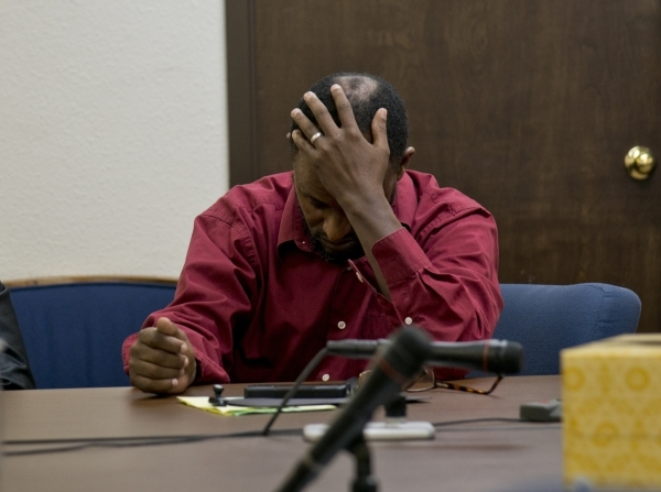 Kelil Ebrahim reacts during a hearing at the Nevada Transportation Authority office near Jones Boulevard and Sahara Avenue on Tuesday, Oct. 6, 2015. Daniel Clark-Las Vegas Review Journal