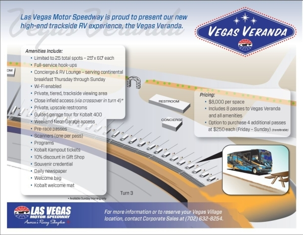 A rendering shows plans on Turn 3 at the Las Vegas Motor Speedway for luxury accommodations that are part of the Vegas Veranda project. Courtesy, Las Vegas Motor Speedway
