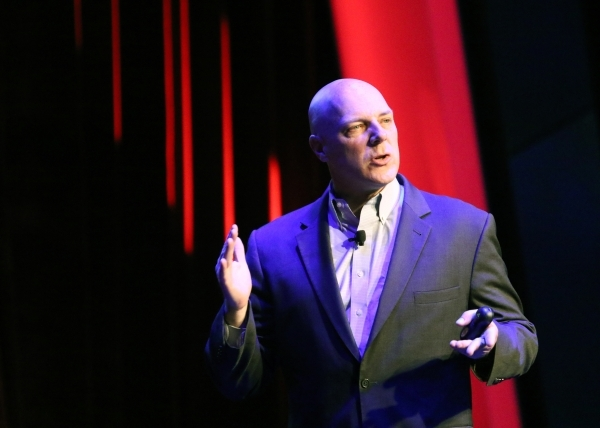 Shawn Henry, president and chief security officer of CrowdStrike Services, speaks about cyber security to Sands Corp. employees during a keynote at Sands Showroom at the Venetian hotel-casino Tues ...