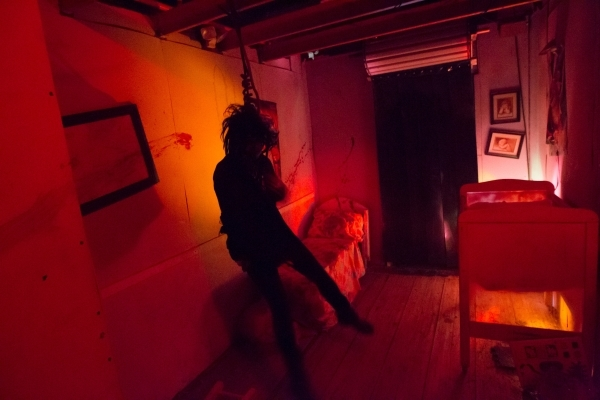 "A performer is shown in the ""Gates of Hell"" haunted house, one of the Trilogy of Terror haunted houses run by Freakling Bros., at 4245 S. Grand Canyon Drive, in Las Vegas on Friday, Oct. ..."