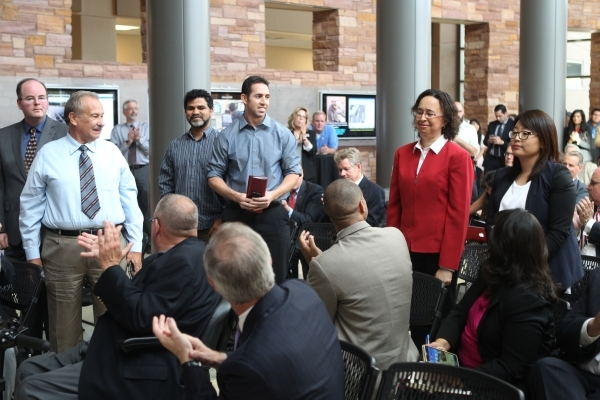 UNLV science and engineering faculty are recognized during a press conference at the UNLV Science and Engineering Building in Las Vegas Wednesday, Oct. 7, 2015. UNLV announced a $1 million, 5-year ...