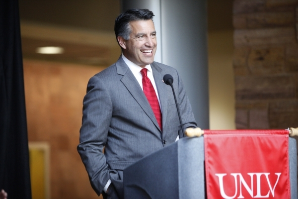 Gov. Brian Sandoval speaks on the new partnership between Tesla and UNLV during a press conference at the UNLV Science and Engineering Building in Las Vegas Wednesday, Oct. 7, 2015. The $1 million ...