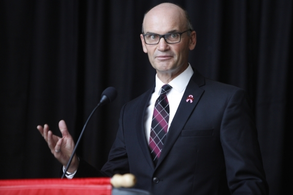 Thomas Piechota, vice president for research and economic development at UNLV, speaks on the new partnership between Tesla and UNLV during a press conference at the UNLV Science and Engineering Bu ...