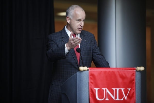 Diarmuid O'Connell, vice president at Tesla, speaks during a press conference at the UNLV Science and Engineering Building in Las Vegas Wednesday, Oct. 7, 2015. UNLV announced a $1 million,  ...