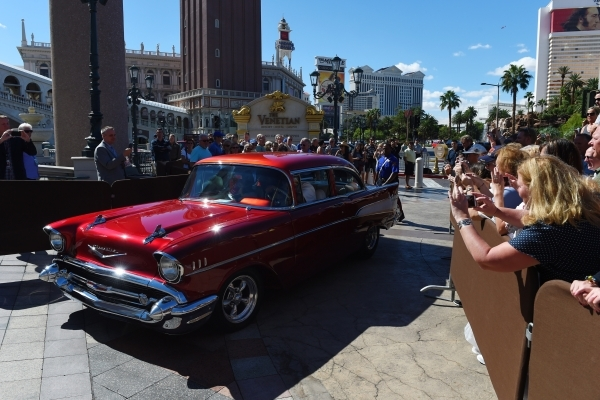 Bystanders take photos as Naomi and Wynonna Judd arrive at the Venetian in a 1957 Chevy for an appearance to publicize their nine-show residency Tuesday, Oct. 6, 2015.  Sam Morris/Las Vegas News B ...