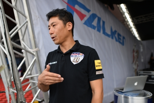 Japanese pilot Yoshihide Muroya (31) talks about how he started flying before qualifying of the Red Bull Air Race World Championship Series race at the Las Vegas Motor Speedway on Saturday, Oct. 1 ...