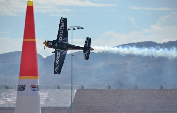 A Challenger Cup pilot, a support race, makes a practice run during the Red Bull Air Race World Championship Series race at the Las Vegas Motor Speedway on Saturday, Oct. 17, 2015. Brett LeBlanc/L ...
