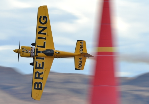French pilot Francois Le Vot (12) makes a qualifying run during the Red Bull Air Race World Championship Series race at the Las Vegas Motor Speedway on Saturday, Oct. 17, 2015. Brett LeBlanc/Las V ...