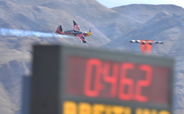 American pilot Kirby Chambliss (10) makes a qualifying run during the Red Bull Air Race World Championship Series race at the Las Vegas Motor Speedway on Saturday, Oct. 17, 2015. Brett LeBlanc/Las ...