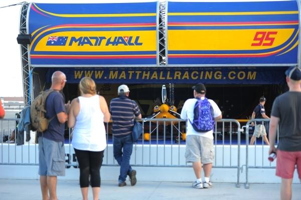 Race goers watch Australian pilot Matt Hall's (95) garage during the Red Bull Air Race World Championship Series race at the Las Vegas Motor Speedway on Saturday, Oct. 17, 2015. Brett LeBlan ...