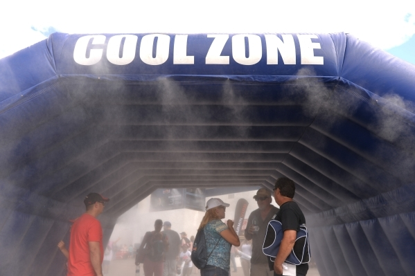 Fans use the cool zone as the sun comes out during the Red Bull Air Race World Championship Series race at the Las Vegas Motor Speedway on Saturday, Oct. 17, 2015. Brett LeBlanc/Las Vegas Review-J ...