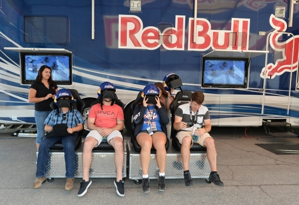 Fans use virtual reality headsets at a vendor during the Red Bull Air Race World Championship Series race at the Las Vegas Motor Speedway on Saturday, Oct. 17, 2015. Brett LeBlanc/Las Vegas Review ...