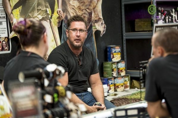 Mike Monko talks with customers inside the Zombie Apocalypse Store in Las Vegas on Saturday, Oct. 10, 2015. Joshua Dahl/Las Vegas Review-Journal