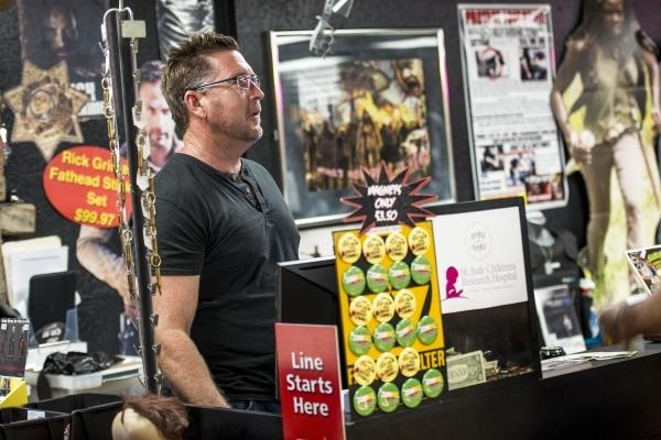 Mike Monko talks with customers inside the Zombie Apocalypse Store in Las Vegas on Saturday, Oct. 10, 2015. Joshua Dahl/Las Vegas Review-Journal