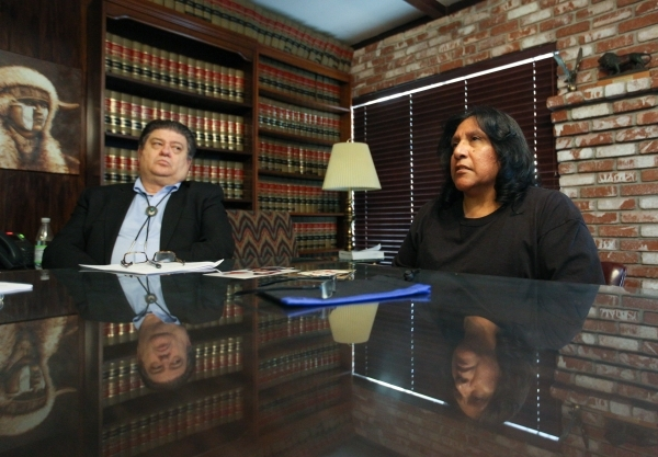 Judy Donatell, right, and her lawyer Cal Potter speak about the death Donatell's 37-year-old daughter, Angela Donatell, on Friday, Oct. 9, 2015 during an interview with the Review-Journal. ( ...