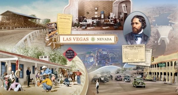 Many lobbies of Wells Fargo Bank branches in Nevada have murals, such as this one in the lobby of a Las Vegas Boulevard branch, depicting the state's history. (Special to View)