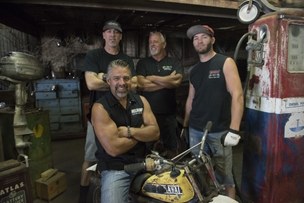 Star of the television show Vegas Rat Rods Steve Darnell, second from left, poses with his co-stars, from left, Travis Deeter, Dan Coggins and Justin Kramer at Welderup in Las Vegas Monday, Oct. 1 ...